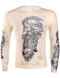 Freebily Camiseta Manga Larga con Tatuaje para Hombre Camiseta Deportiva Ajustada Elástica Transparente Suave T-