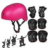 Skateboard Protektoren Set mit Helmet, SymbolLife BMX Helmet Knie Pads Elbow Pads mit Handgelenkschoner für Skate, Fahrrad, Skateboard, Roller Skate und anderen Extreme Sports, Größe M, Rosa