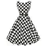 Damen Kleider Vintage Retro Kleid Petticoat Faltenrock Schwarz-Weißes Karierte Kleider Sommerkleider Knielang Hepburn Rockabilly Kleid Abendkleider Partykleider (Black, M)