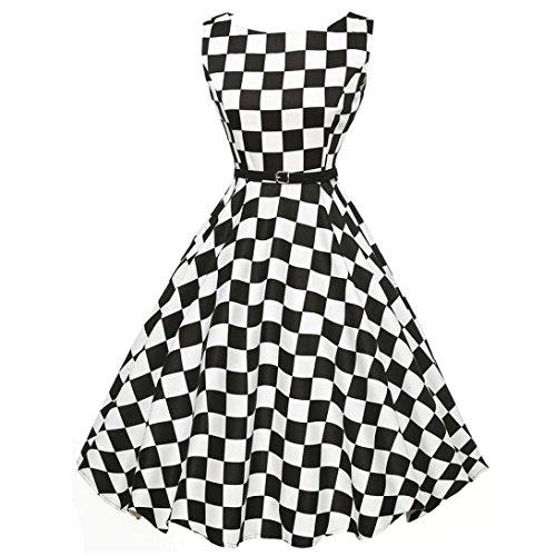 e Retro Kleid Petticoat Faltenrock Schwarz-Weißes Karierte Kleider Sommerkleider Knielang Hepburn Rockabilly Kleid Abendkleider Partykleider (Black, M) (Party-stadt 50er Jahre)