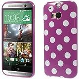 TPU-Case / Hülle zu HTC One M8 - Dots lila , weiß-gepunktet, weiße Punkte, 60-er Jahre