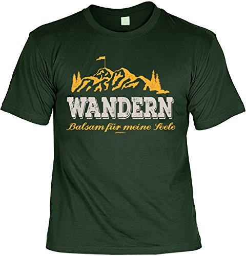 Pilger/Kletter-Shirt/Sprüche-Shirt Thema Wandern: Wandern Balsam für meine Seele für Gipfelstürmer Dunkelgrün