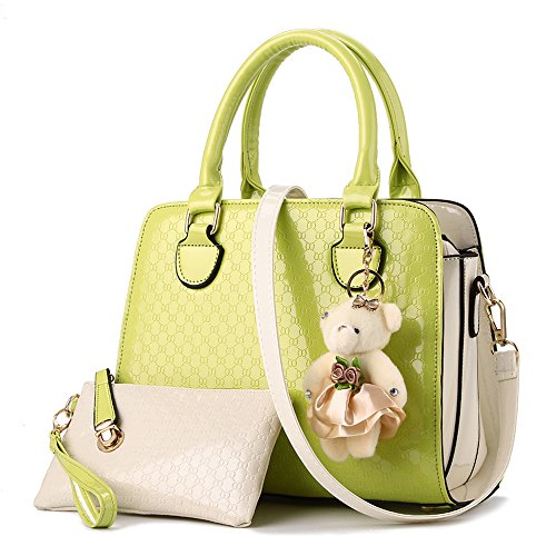 YIYINOE 2015 Fashion 2 Pieces Stripe Single Shoulder PU Leather Bag Women's Simple Design Clutches Purse Medium Tote Handbag For Womens + Little Bear Green