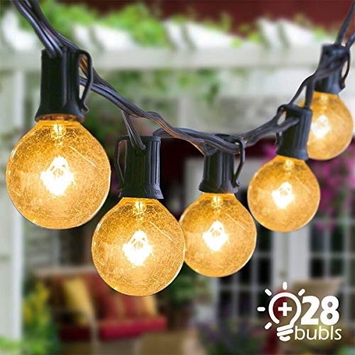 Josechan Guirnaldas Luminosas 9.5M 25 G40 Bombillas Impermeable Guirnalda de Luces Cadena de Luces para Interior, Exterior, Dormitorio, Boda, Partido, Decoraciones de la Navidad