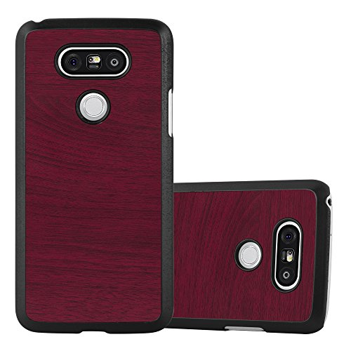 Preisvergleich Produktbild Cadorabo Hülle für LG G5 - Hülle in Woody ROT – Hardcase Handyhülle in Vintage Holz Optik - Schutzhülle Bumper Back Case Cover