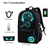 School Bags, GIM Anime Luminous Backpack Canvas Shoulder Daypack Boy Rucksack with USB Cable and Lock and Pencil Bag for Teens Girls Boys-Black