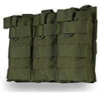 Tactical MOLLE - Revistero Triple con Tapa abatible (Nailon 1000D, AK AR M4 FAMAS), OD