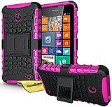 Nokia Lumia 630 635 Custodia Cover Case, FoneExpert Prova di scossa Resistenza alle cadute Robusta Custodia con Kickstand Case Cover Custodia Per Nokia Lumia 630 635 + Pellicola Protettiva Schermo (Rosa)