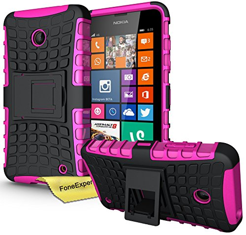 FoneExpert® Nokia Lumia 630 635 - Etui Housse Coque ShockProof Robuste Impact Armure Hybride Béquille Cover pour Nokia Lumia 630 635 + Film de Protection d'Ecran (Rose)