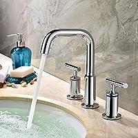 kunmai moderno a doppia leva rubinetto per lavabo, finitura