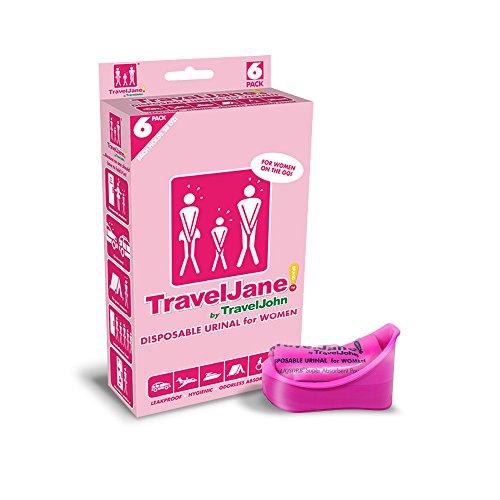 Travel John Einweg-Urinal–erhältlich für Herren, Damen und Kinder, rose, 6er-Pack