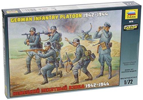 Zvezda 500788078 - 1:72 WWII Figuren-Set Deutsche Infanterie (Infanterie Deutsche Modelle)