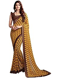 Bhankhariya Women's Georgette Printed Sarees For Women Latest Design 2018 With Blouse Piece (A20Yellow-SAREE15...
