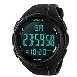 Herren Uhren Digital 2018 Luxus Analog Militär Sport LED Wasserdichte Elektronische Armbanduhren Männer Weiß/Schwarz/Blau (Standard, Schwarz)