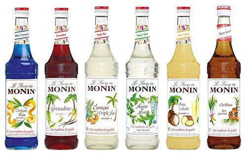 Monin Cocktail Set (6 x 0.7l Flaschen: Curacao Blue, Curacao Triple Sec, Grenadine, Mojito Mint, Pina Colada, Rum - Sec Sirup Triple