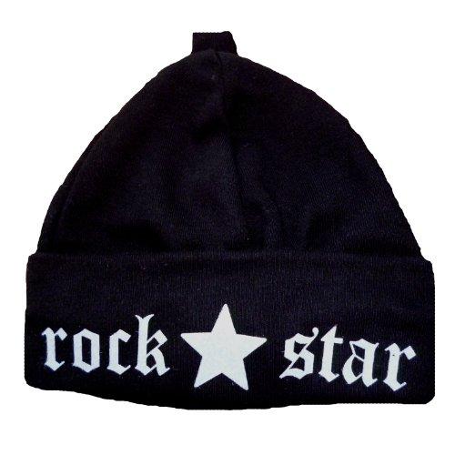 Baby Mütze ROCK STAR schwarz - Beaniemütze 0-2 Monate (Neugeborene) Erstlingsmütze...