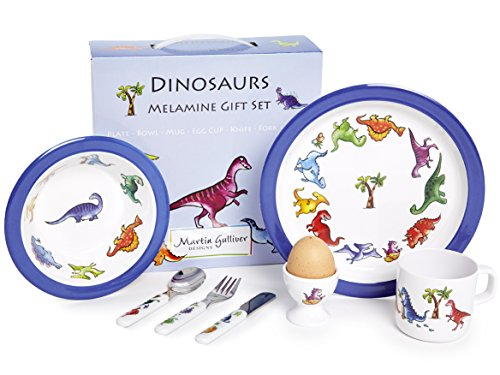 Martin Gulliver Designs Geschenkset Dinosaurier, Melamin, 7-teilig Garten Bowl-set