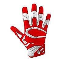 قفازات كرة قدم S451 Rev Pro 2.0 من Cutters مع مقبض خلفي لاصق، أحمر/أبيض، للكبار مقاس L