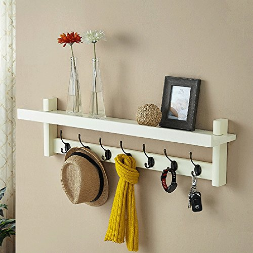 Wall-mounted Coat Rack-regal (FEI Solid Coat Rack Wall Mounted mit Regal und 7 Haken ( Farbe : Milky ))