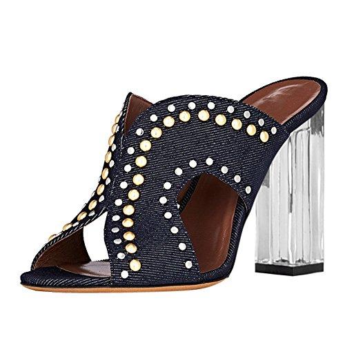 f3b02d3339c88d Damen Open Toe Cowboy Samt Sandalen High-Heels Transparent Blockabsatz  Slingback Cowboy Blau XOD7qFbg