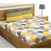 Loreto - A Quality Linen Brand 144 TC 100% Cotton Double Bedsheet with 2 Pillow Covers - Multi Colour