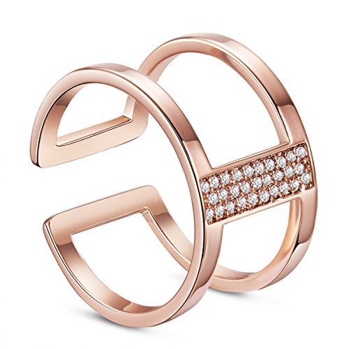 SWEETIEE - Bague Ouverte Double Anneaux en Pur Argent 925 Sterling, Double Bands avec Micro Pave AAA Zircon, Or Rose, 17mm …