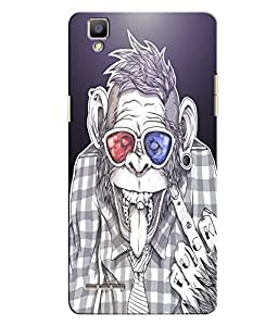 Citydreamz Monkey Face/Abstract Hard Polycarbonate Designer Back Case Cover For Oppo F1