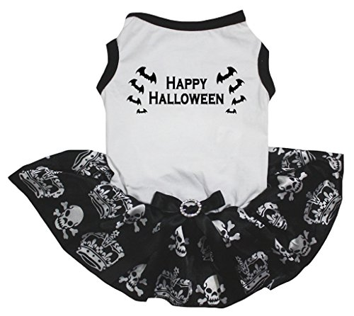 petitebelle Puppy Kleidung Hund Kleid Happy Halloween Totenkopf Top weiß Krone Tutu (Happy Halloween Animal Costumes)