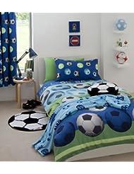 Catherine Lansfield Parure de lit pour enfant Motif football, bleu, Double