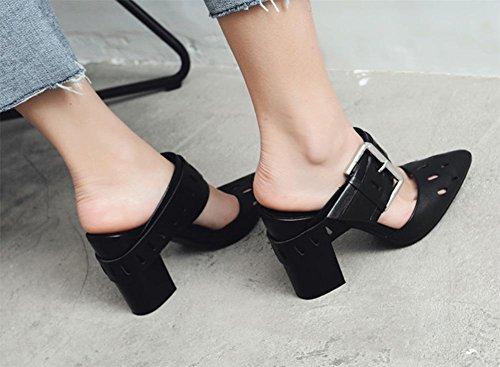 Frühling und Sommer dick mit hochhackigen spitzen Schnalle Sandalen Sommerschuhe Black