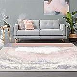 LZHDAR Rechteckiger Einfacher Teppich, Polyester Blau Wohnzimmer Einfach Sauber Fleck Verblassen Beständig Badezimmer Türen Wohnzimmer 160 * 230 cm,Pink,120 * 160cm