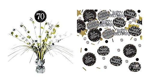 Feste Feiern Tischdekoration 70. Geburtstag I 2 Teile Tischaufsatz Tischaufsteller Kaskade Konfetti Gold Schwarz Silber metallic Party Deko Ste Happy Birthday 70