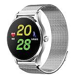 Fuibo Smartwatch, Smart Watch IOS Android Pulsmesser Uhr 1.22 Zoll IPS Runde Bildschirm Armbanduhr Sport Fitness Tracker Armband (Silber)