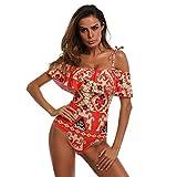OverDose Damen Einteiler One Piece Bikini Monokini Bademode Strand Badeanzug Padded Beachwear(A-Red ,M)
