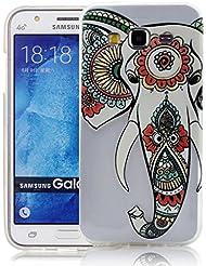 Silicone Soft Coque pour Samsung Galaxy J3 2016 Etui Case Cover, Vandot Art Design Motif Coque Elephant nez Style TPU Silicone Doux TPU Case [Anti chute & rayure] Etui Housse Series Couverture