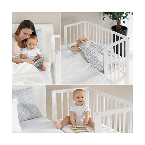 Fillikid Convertible Bedside Crib Vario 2in1 - Height Adjustable Bedside Cot with Wheels | 90 x 40 cm | Solid Beech Wood | Drop Side Rail | Fits Boxspring Beds - White  BEDSIDE CRIB DURING THE NIGHT: The bedside cot enables an easy access, hassle-free night time feeding and allows you to reach your baby without having to get up in the middle of the night. BASSINET DURING THE DAY: Simply pull up the side rail and use the cot as a stand-alone bed or bassinet. Four lockable wheels make it easy for you to move from one room to another having your newborn always on your side. FITS STANDARD AND BOXSPRING BEDS: The bed base can be placed on 4 different heights. It fits on every parent's mattress with a minimum height of 52 cm and a maximum height of 70 cm. The Vario Bedside Crib can easily be attached to your bed with the included support strap. 8