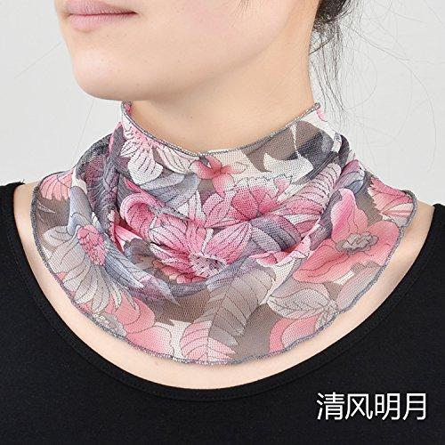 Upper-scarf Écharpe femme Soleil d'été mince Collier en soie d'impression marron