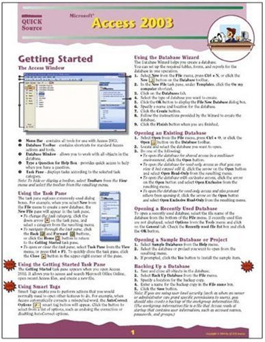 Microsoft Access 2003 Quick Source Guide by Quick Source (2004) Pamphlet