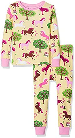 Hatley 100% Organic Cotton Long Sleeve Printed Sets, Pyjamas Fille, Yellow (Pony Orchard), 8 Ans