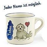 Tasse mit Namen 0,2L Robbe Keramik Kindertasse Namenstasse Kindergeschirr mit Wunschbeschriftung