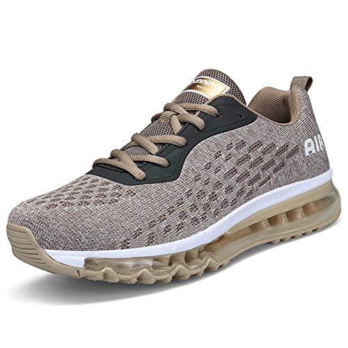 IceUnicorn Herren Laufschuhe Rutschfeste Atmungsaktiv Gym Sportschuhe Schnürer Outdoor Turnschuhe Joggen Schuhe Freizeit Sneaker(Gold,40EU)