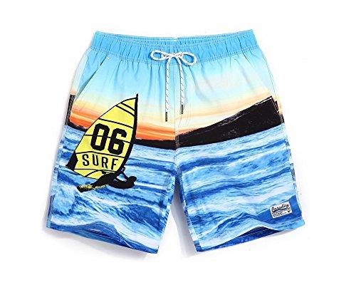 Lantra Besa CSM0029 Wasserabweisend Schnelltrocknend Herren Männer Badehose Badeshorts Knielang Boardshorts Beach Shorts für Wassersport im Sommer mit Mesh Gefüttert CSM002901