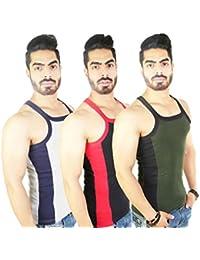 Zimfit Men's Gym Vest Pack Of 3 (Grey_Black_Green)