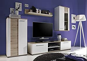 wohnwand in walnuss weiss k che haushalt. Black Bedroom Furniture Sets. Home Design Ideas