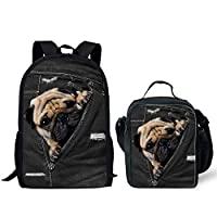 HUGS IDEA Cute Pet Black Children School Backpack Lunch Bag Set for Girls Boys