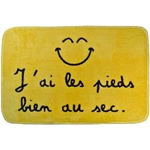Promobo -Tapis Salle de Bain WC Mots Tendance Slogan Fun Smiley Picto Jaune