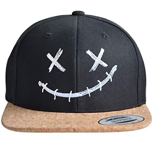 ** Snapback ** | Coole Cap für Herren und Damen | Smiley Motiv | Basecap hochwertig Bestickt | Flexfit Caps (Black/Cork)