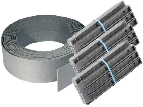 TRB Teichrandband 19 cm | 25 m Rolle + 30 Pfähle H-Profil 38 cm | Teichrandsystem | Teichrand