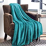 Fluffy Blanket Twin/Double Size Teal - Super Soft Flannel Fleece Bedspread Blankets - Luxury Warm Microfiber Bed Blankets for Sofa and Couch 150x200cm by Bedsure