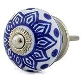 Keramik Vintage Möbelknopf Nr 0037 Jay Knopf 1 Blau Blautöne 8001-E R2-12 Z2 K35 Shabby Chic Retro Porzellan Griff Knauf